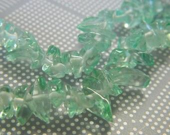"Teal Green Medium Glass Chips - Green Glass Chip Strand - 35"" Chip Bead Strand"
