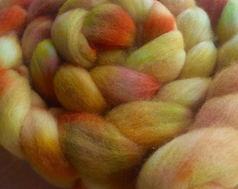 Just Peachy, 4.0 oz Handpainted Polwarth top for spinning OOAK