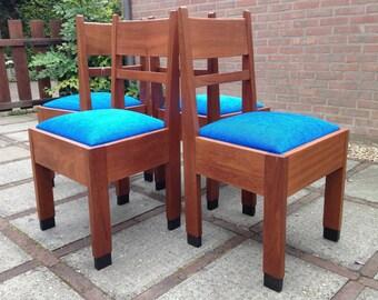 Set van vier stoelen in stijl Amsterdamse School