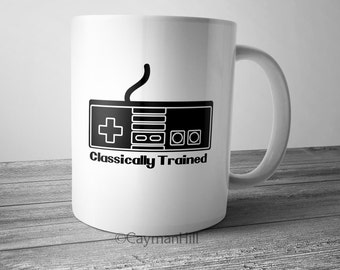 Funny Coffee Mug Classically Trained Controller Novelty Coffee Cup Gamer Gift Old School Retro Game Lover