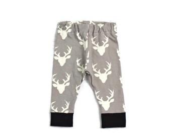 Baby Leggings Boy - Deer- Baby Leggings - Grey