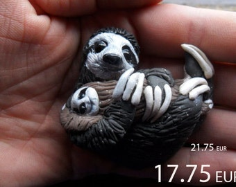 Valentine SALE - Sloth Brooch, Cute Handmade Sloth Jewelry