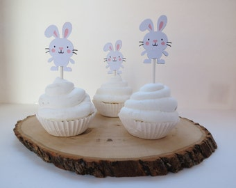 Easter Bunny - Cupcake Toppers - Set of 12