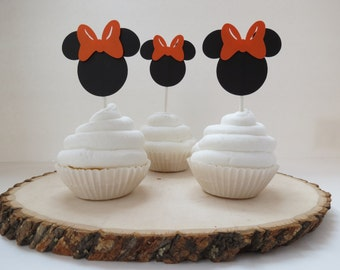Set of 12 - Minnie Mouse Orange Cupcake Toppers