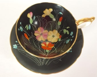 Aynsley Primrose Tea Cup & Saucer Hand Painted Signed