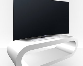 White Gloss TV Stand - Large Hoop