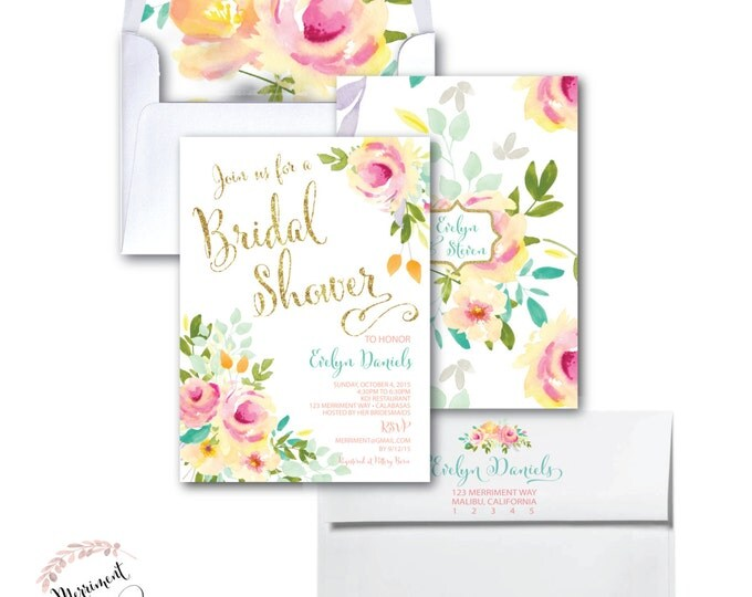 Bridal Shower Invitation // Roses //Peonies // Peony// Bridal Shower Invitation // Pink // Gold Glitter // Yellow// MALIBU COLLECTION