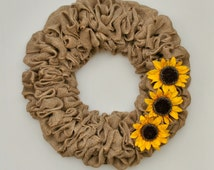 "Sunflower Burlap Wreath For Front Door, Rustic Home Wall Decor, Rustic Door Wreath, Decorative Wreaths, Farmhouse Wreath, 19"" Country Wreath"
