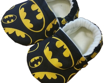 Batman Christmas Handmade Baby Girl's Boy's Shoes Slippers Booties Choose Size 0 - 24 M or 3T-5T  Black Baby Shower Gift