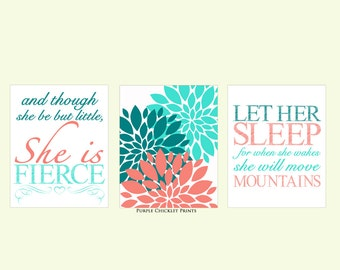 And Though She Be But Little She is Fierce Let Her Sleep Coral Turquoise Teal Flowers Decor Art for Girls Room Nursery Art Print 165(a)175a