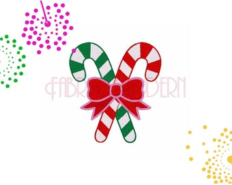 Embroidery Design, Christmas candy canes with bow #313