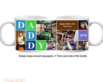Personalize Daddy's every morning cup of coffee with this high quality, durable, Personalized Photo coffee mug - #DADDY01