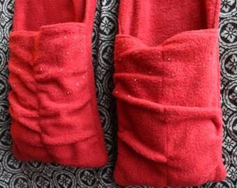 Fleece Scarf with Hand Warmers & Beaded Pockets, Fleece Scarf Hand and Neck Warmer w/Flannel Heat Packs, Heat Pack Scarf w/Beaded Pockets