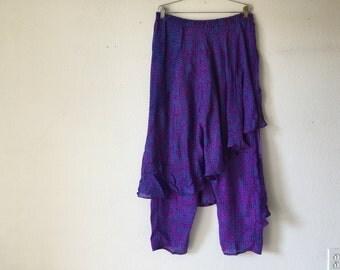 FREE SHIPPING Vintage Pants Skirt - 80s Silk