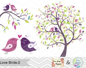 INSTANT DOWNLOAD Love Bird Digital Clipart Wedding Clip Art Valentines Clipart Valentines Element Digital Tree Brach Pink Purple Bird 0172