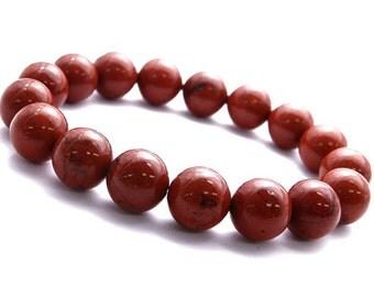 10mm Red Jasper Bracelet, Red Jasper, Red Bracelet Womens, Jasper Jewelry Bracelet, Brecciated Jasper Bracelet Mens, Bracelet Gift for Men
