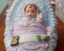 Bisque; Baby Figurine; Approx. 2 x 2.5 in. By Enesco; Made in Srilanka !!!