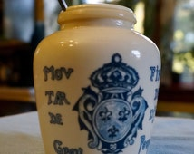 Milk Glass; Mustard Jar; Approx. 3.75 x 3 in. Made in France !!!