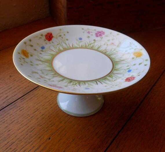 Haviland Floralies Pedestal Tart Cake Plate Limoges France Bone China Beautiful Gift