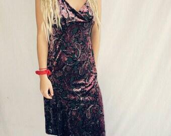 Vintage velveteen vixen paisley dress
