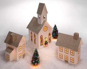 Christmas Village with Gold Glitter, Foldable Village Houses, Putz Village, Christmas Decor
