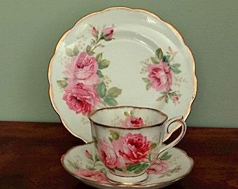 Royal Albert American Beauty Tea Cup Trio English Bone China