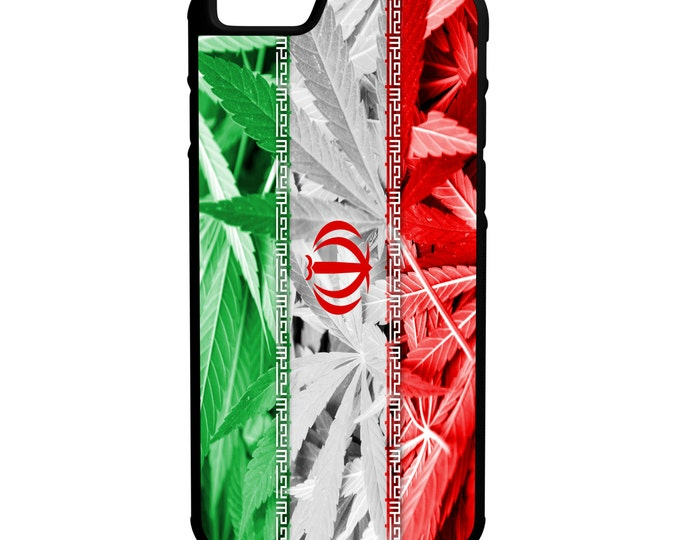 Iran Weed Flag iPhone Galaxy Note LG HTC Hybrid Rubber Protective Case Kush Marijuana Dank Bud