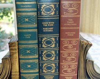 Decorative 1 Leather book, Vintage Book decor, Vanity Fair, International Collectors Library