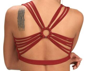 Shanti Strappy Yoga Bra Summer Tank Top in Crimson Red Wholesale