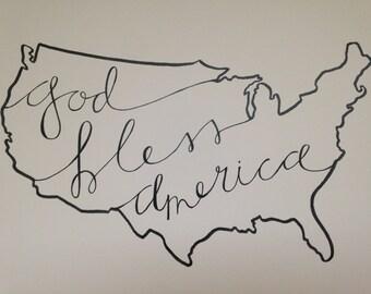"USA ""God Blesss America"" State Art"