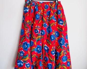 Skirt, Blue Flowers on Red. Medium