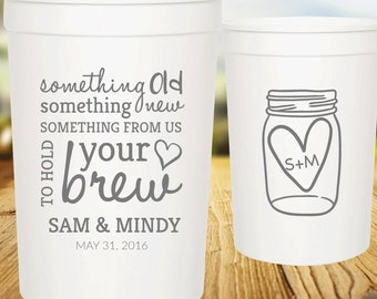 Personalized Wedding Cups, 16oz Customized Party Cups, Custom Plastic Cups, Wedding Favor Cups - Something Old Something New Mason Jar