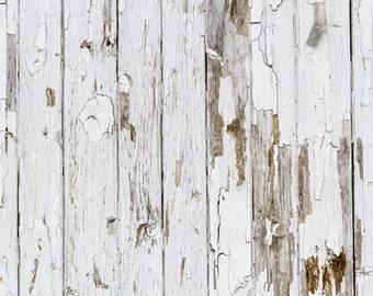 White Peeling Wood Planks Photo Backdrop, Newborns wood photography background, weathered painted wood photoshoot backdrops D-7587