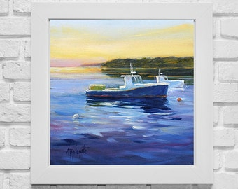 "Maine Lobster Boats,Landscape print, Harbor View, Seascape print, Sailboats, giclee print,Barbara Applegate ,oil painting, ""Lobster Cove"""