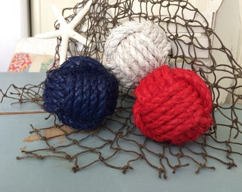 Red white blue nautical decor - 4th of July bowl filler - rope ball knots - nautical knots patriotic nursery - monkey fist knot balls