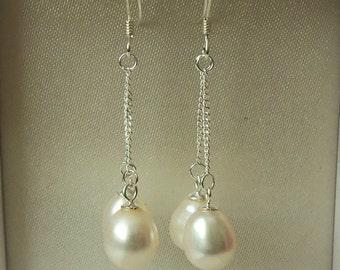 925 Sterling Silver Double Pearl Drop Earrings.