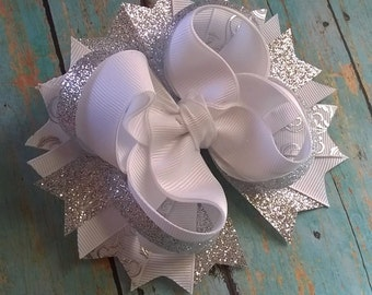 White And Silver Hair Bow