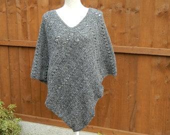 Crocheted Poncho in Black with Flecks of Grey