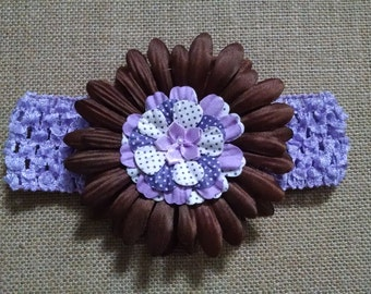 Baby Headband, Flower Headband, Purple Headband, Brown Headband, Baby Hair Accessory, Baby Girl Headband, Toddler Headband, Infant Headband