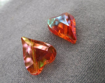 Hot Fiery Orange Cut Crystal Heart