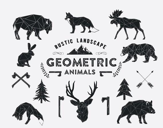 Geometric Animals wildlife and Rustic landscape Hand Drawn