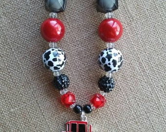 Little Farmer Girl Tractor Bubble Gum Bead Bling Necklace