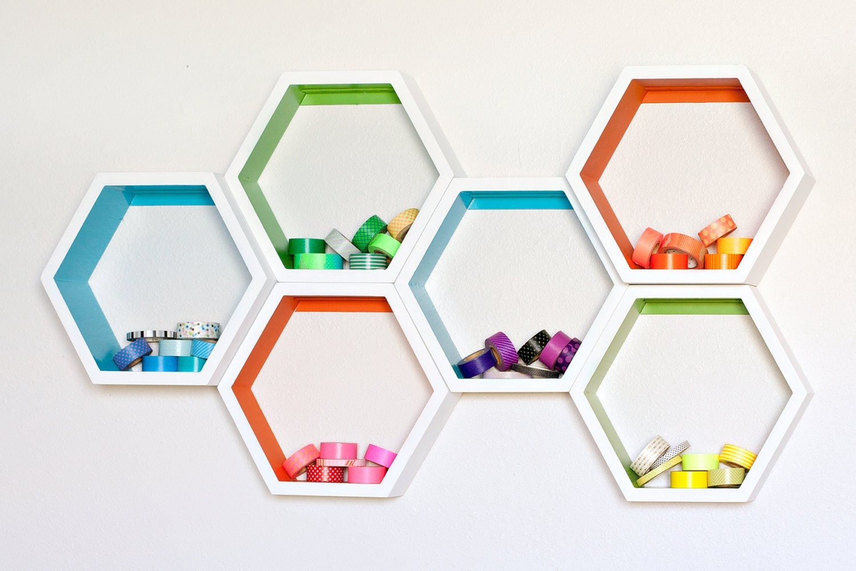 Small Honeycomb Shelves Hexagon Set Of Six
