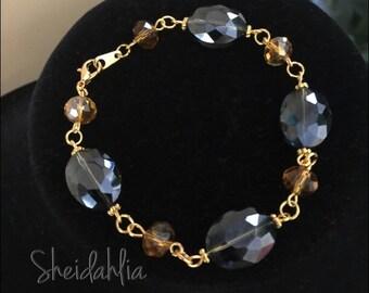 Holidays bracelet- Bracelet, Crystal bracelet, Sapphire, Blue bracelet, Gray bracelet, Glow, Bling, Shinny, Fashion, Holiday jewelry