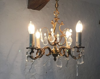 French Vintage Bronze and Crystal Chandelier