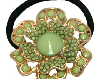 Gold-Tone Ponytail Holder, Green Stone Ponytail Holder, HairTie With Green Stone