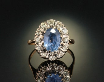 reserved !!! Art Deco 3.09 Ct natural no heat Ceylon sapphire and .85 Ct diamond classy cluster ring