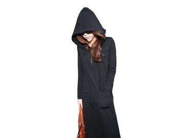 Fashion black long hoodie dress