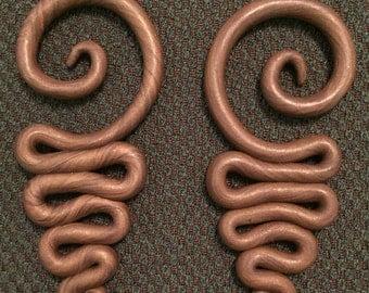 Simple Spiral Switchback Gauged Earrings- 6g
