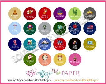Holidays & Events Set #2 Round Stickers for Planners
